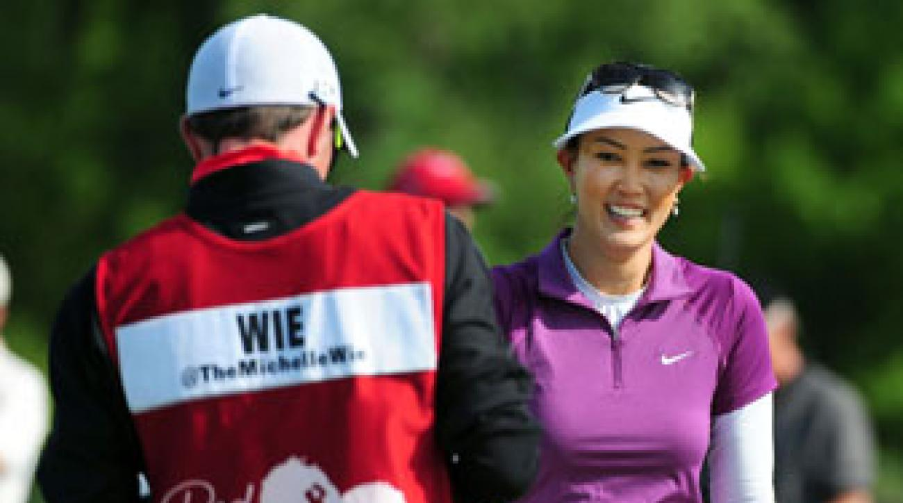 Michelle Wie is two shots back of leader Shanshan Feng after the third round of the Manulife Financial LPGA Classic.