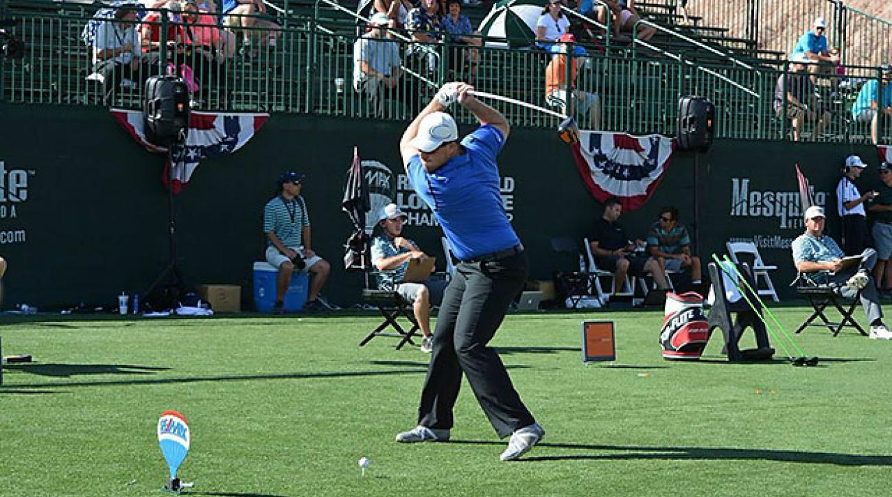 Connor Powers practices for the Long Drive Championship in Las Vegas, Nevada.