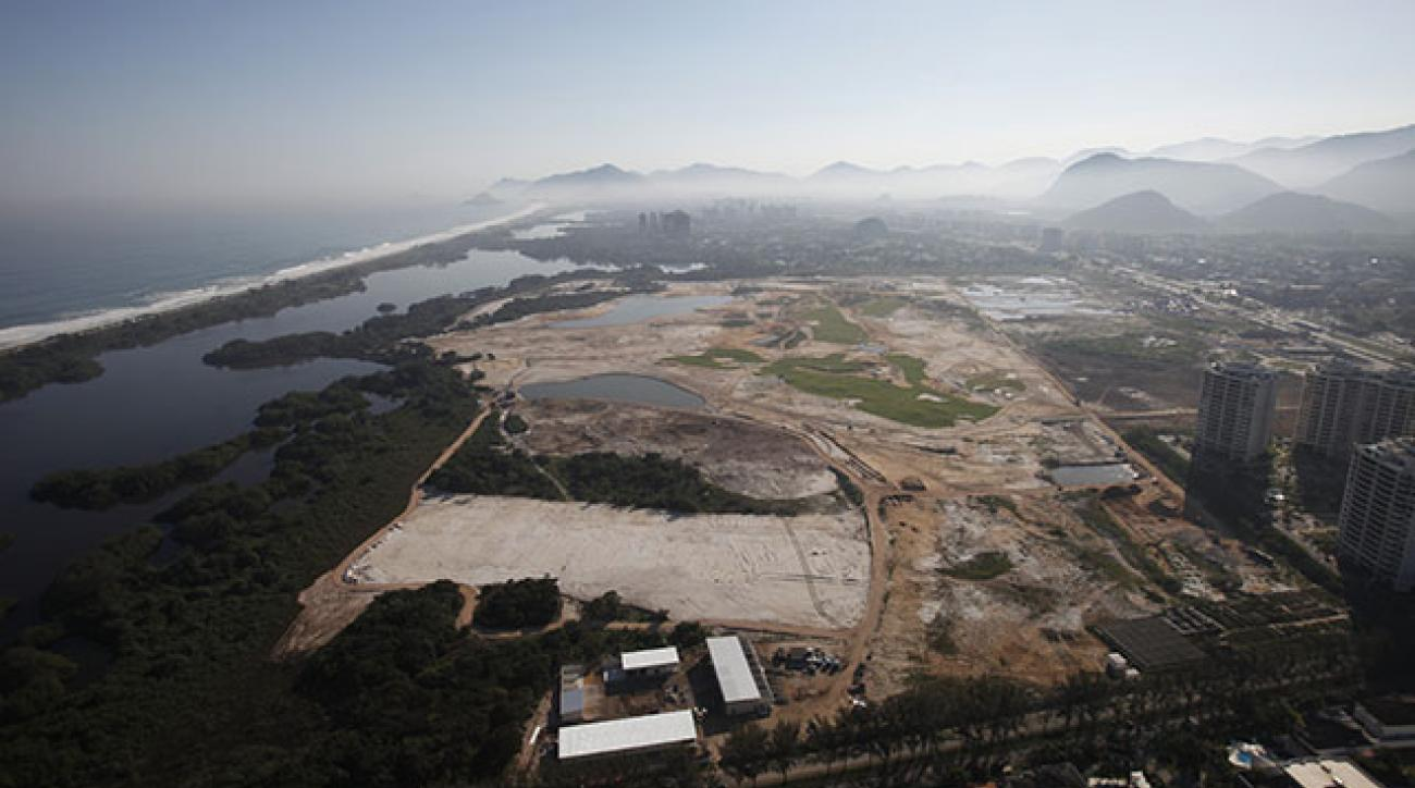 An aerial photo of the golf course under construction for the 2016 Olympics in Rio de Janeiro.