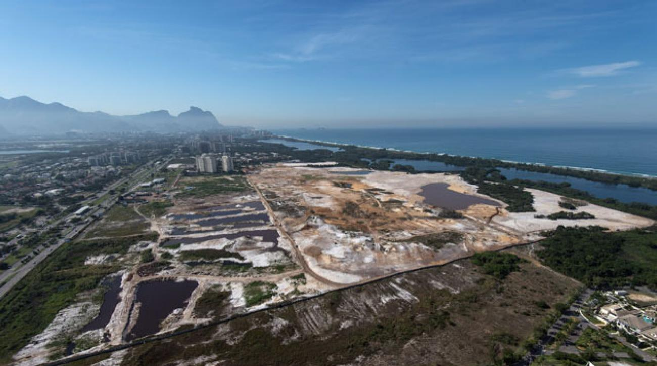 An aerial view of the construction site of the golf course for the 2016 Olympics in Rio.
