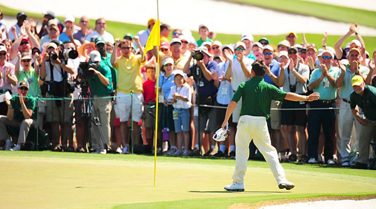 After making the fourth double eagle in Masters history, Louis Oosthuizen tossed his ball into the crowd. The ball was soon donated to the club.