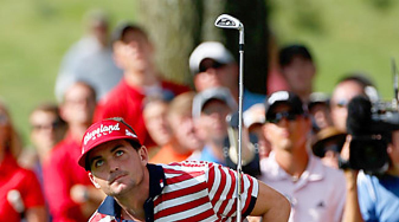 Keegan Bradley hit several clutch shots in the final round at Firestone, where he eventually won by one stroke.