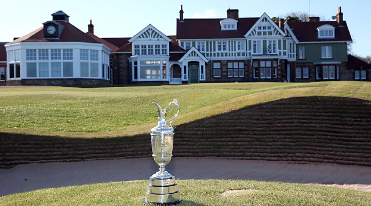 The claret jug near the 18th green at Muirfield.