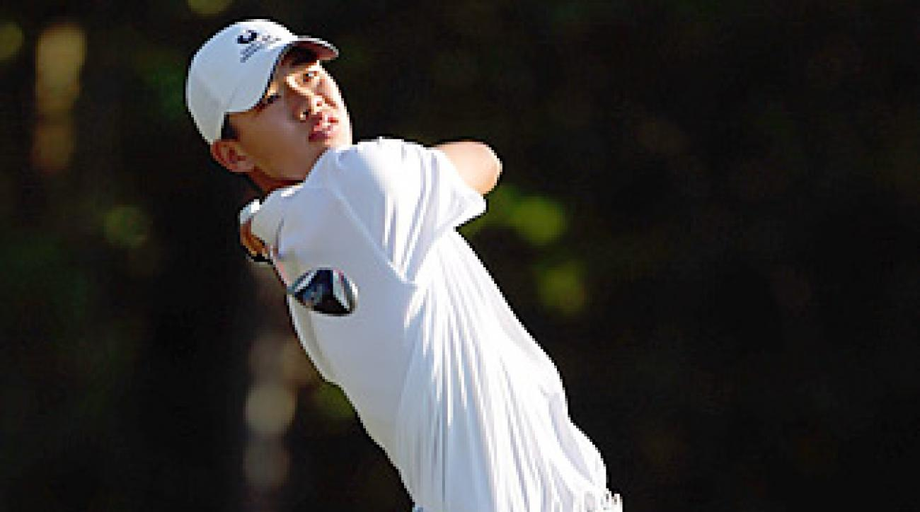 Tianlang Guan shot an even-par 72 and is eight shots off the lead.