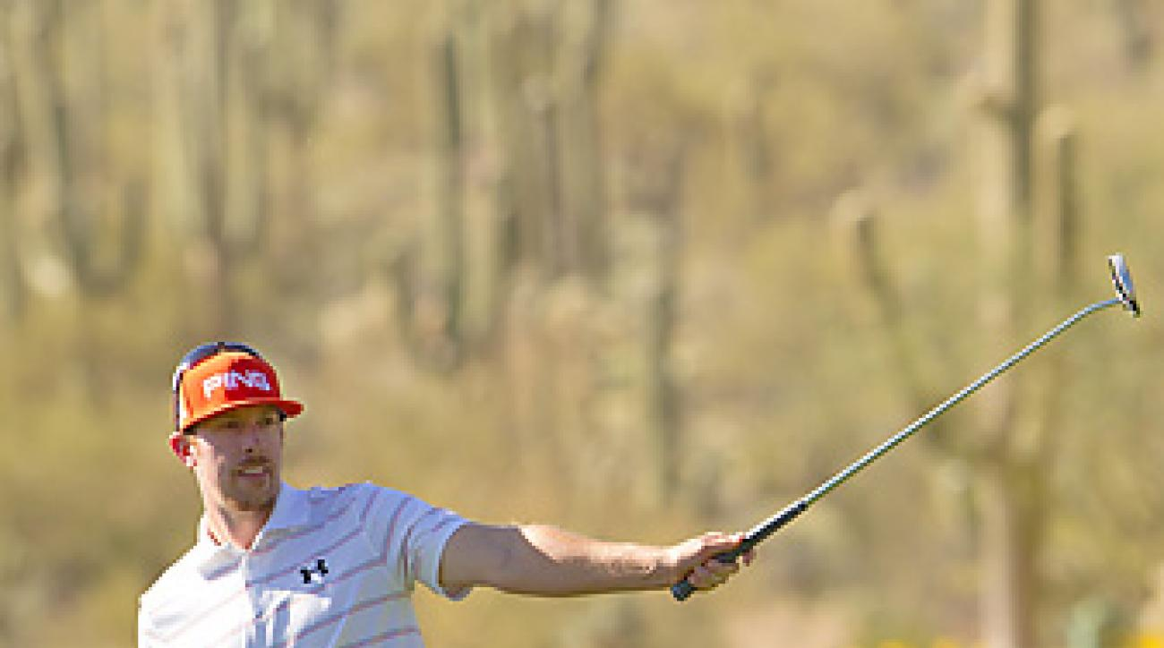 Hunter Mahan deftly handled this shot from off the green on the 15th hole to help clinch his match against Rory McIlroy.