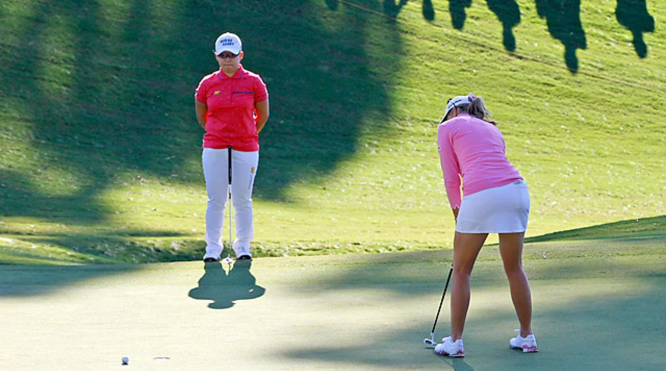 Paula Creamer missed this five-footer for par on Monday's first playoff hole -- and ninth overall -- allowing Jiyai Shin (left) to win at Kingsmill.