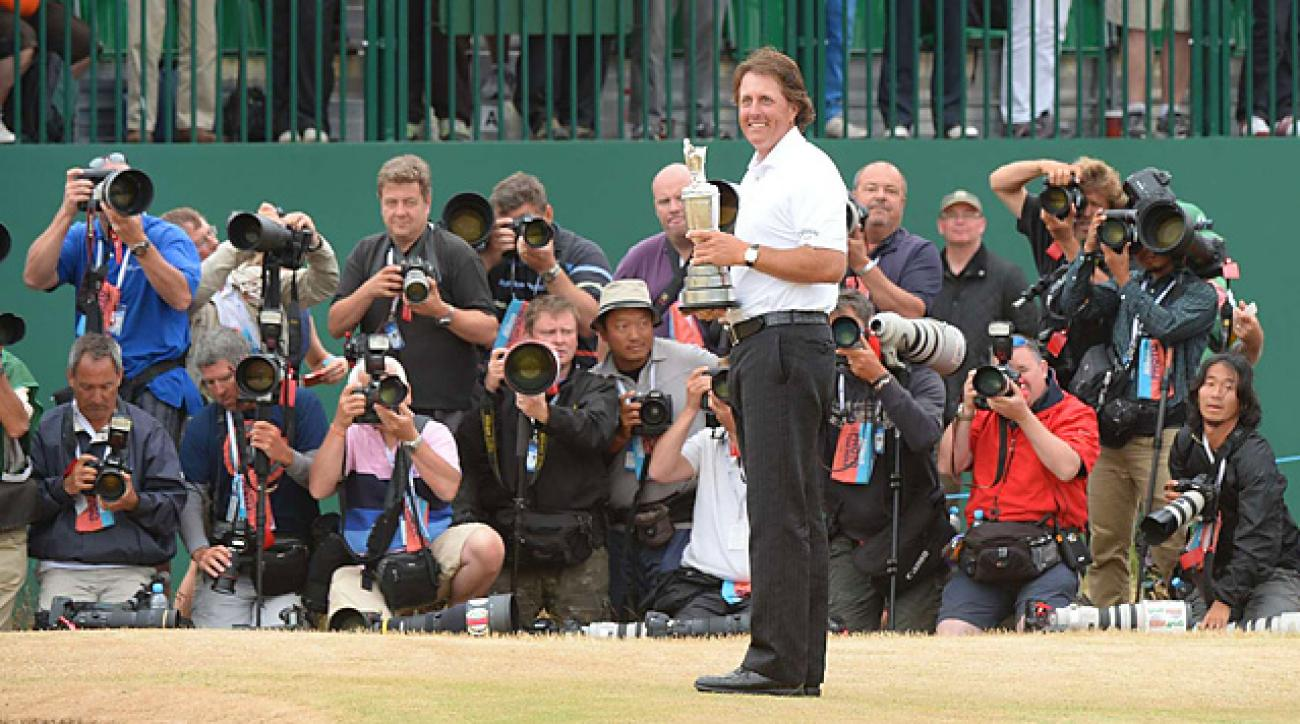 His finest hour: Mickelson with the claret jug after prevailing at Muirfield.