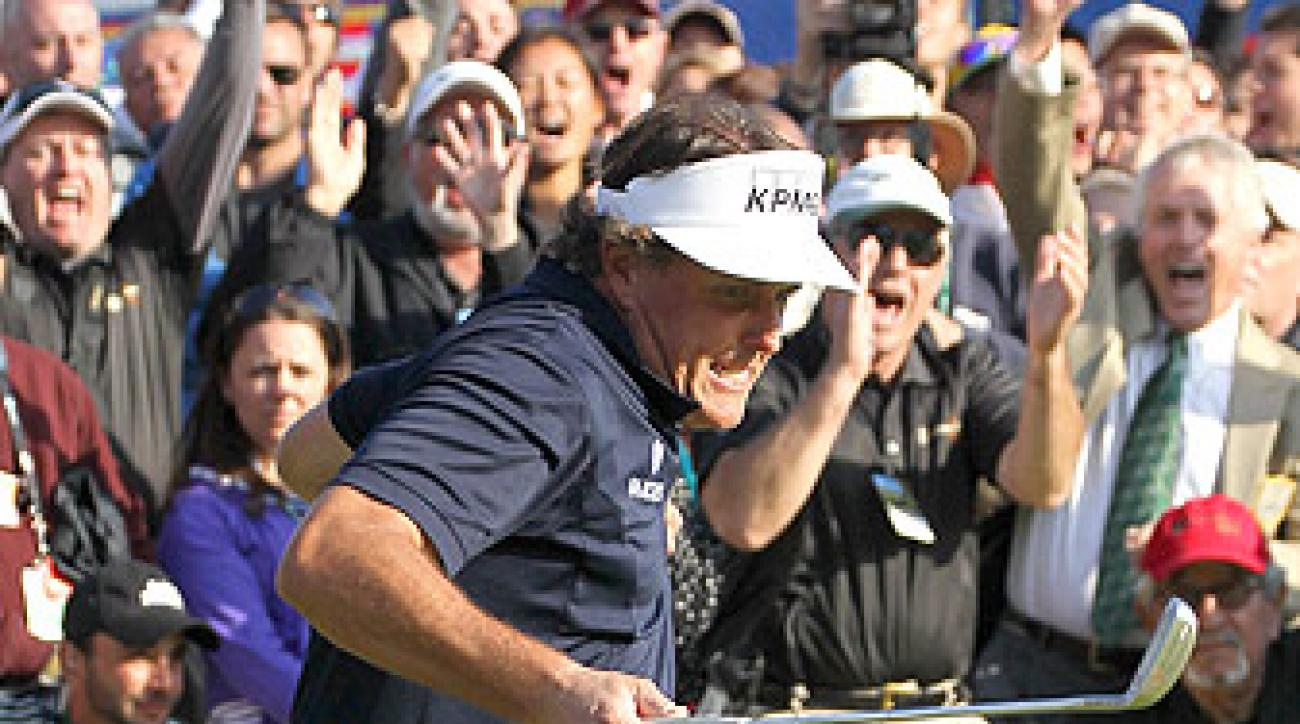 Phil Mickelson buried a 26-foot birdie putt on the 72nd hole to force a playoff at Riviera.