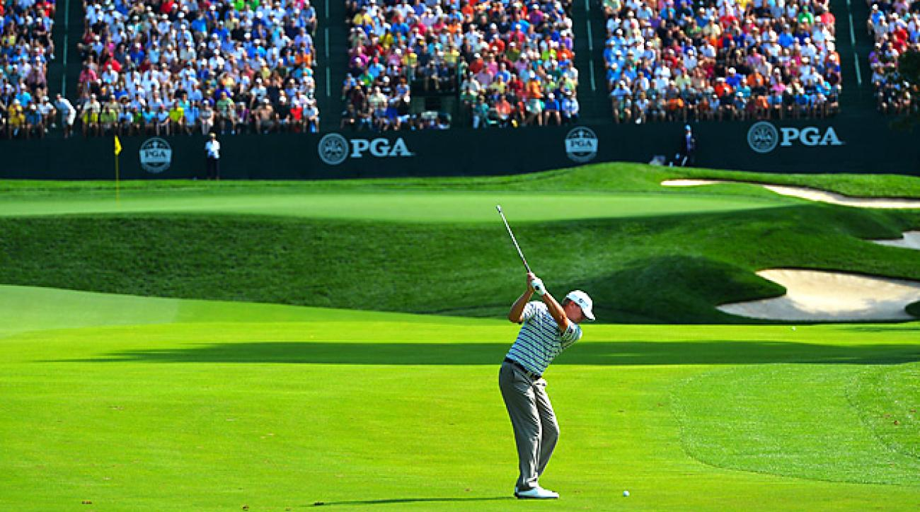 Steve Stricker shot a two-under 68 in his first round at the PGA Championship.