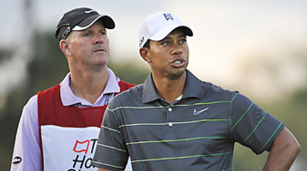 Tiger Woods had a terse exchange Wednesday with a reporter who questioned Woods about the upcoming Hank Haney book.