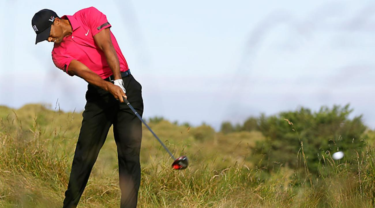 Tiger Woods, shown here during a Tuesday practice round at Muirfield, is seeking his first major title since 2008.