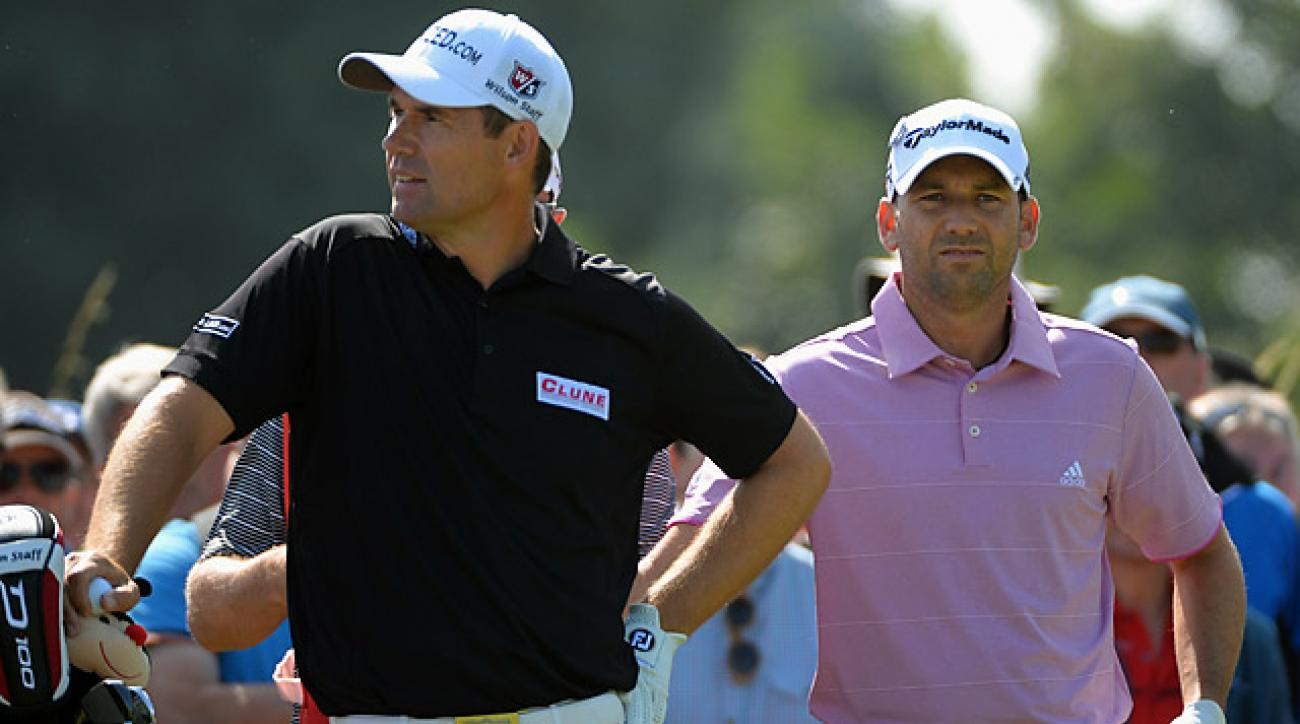 Padraig Harrington, left, won his first claret jug at Carnoustie in 2007 after a playoff with Sergio Garcia.