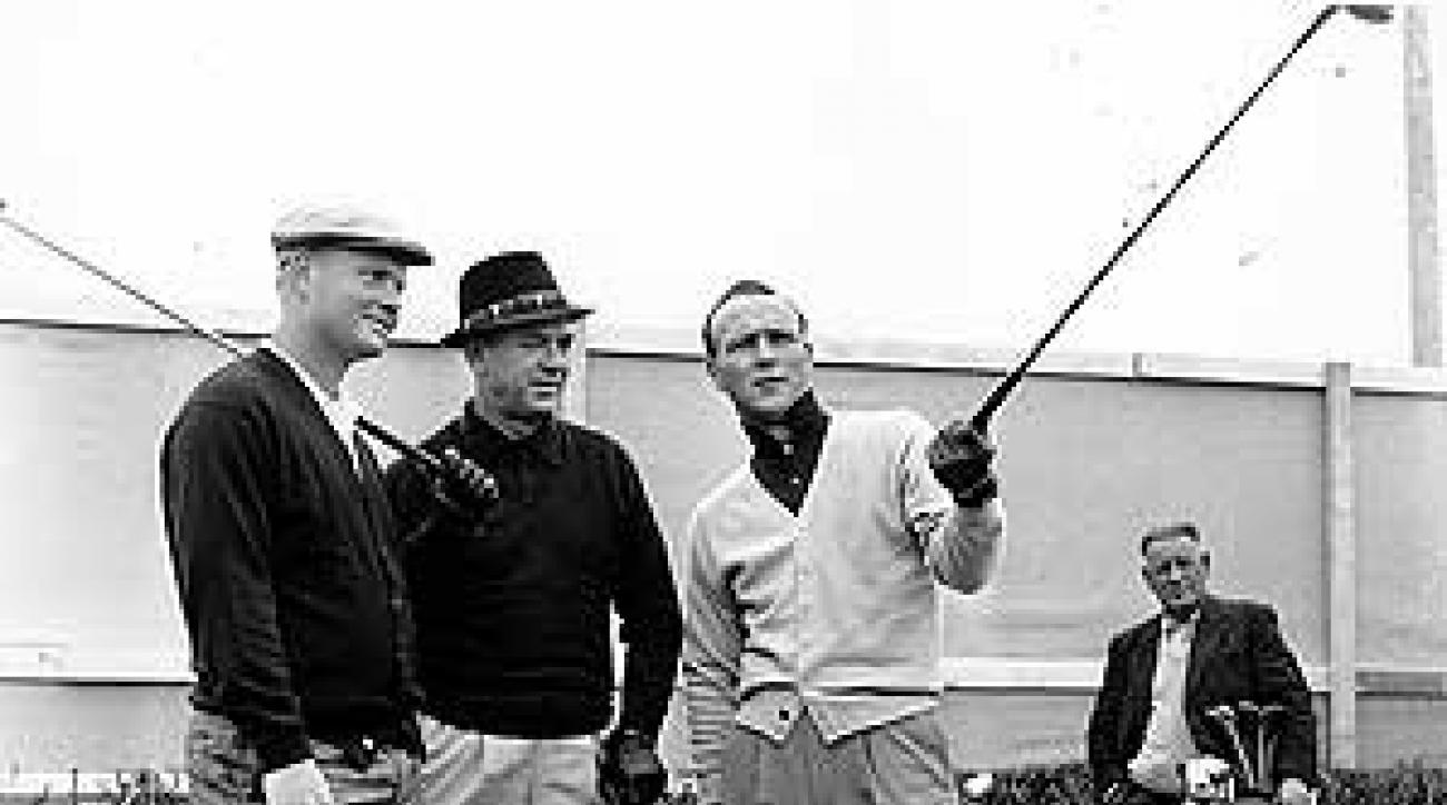 Jack Nicklaus, Sam Snead and Arnold Palmer during a practice round at Royal Troon.