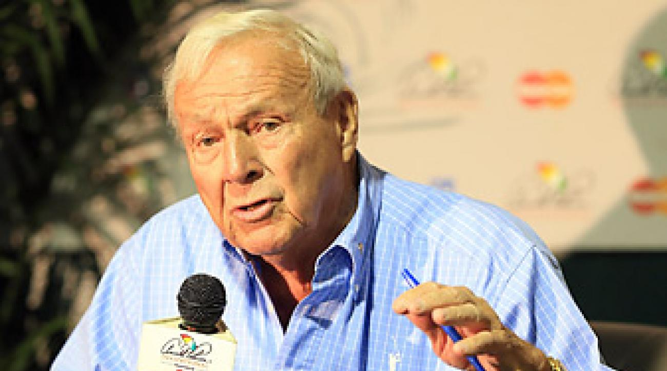 Arnold Palmer was hospitalized overnight as a precaution because of high blood pressure from new medication.