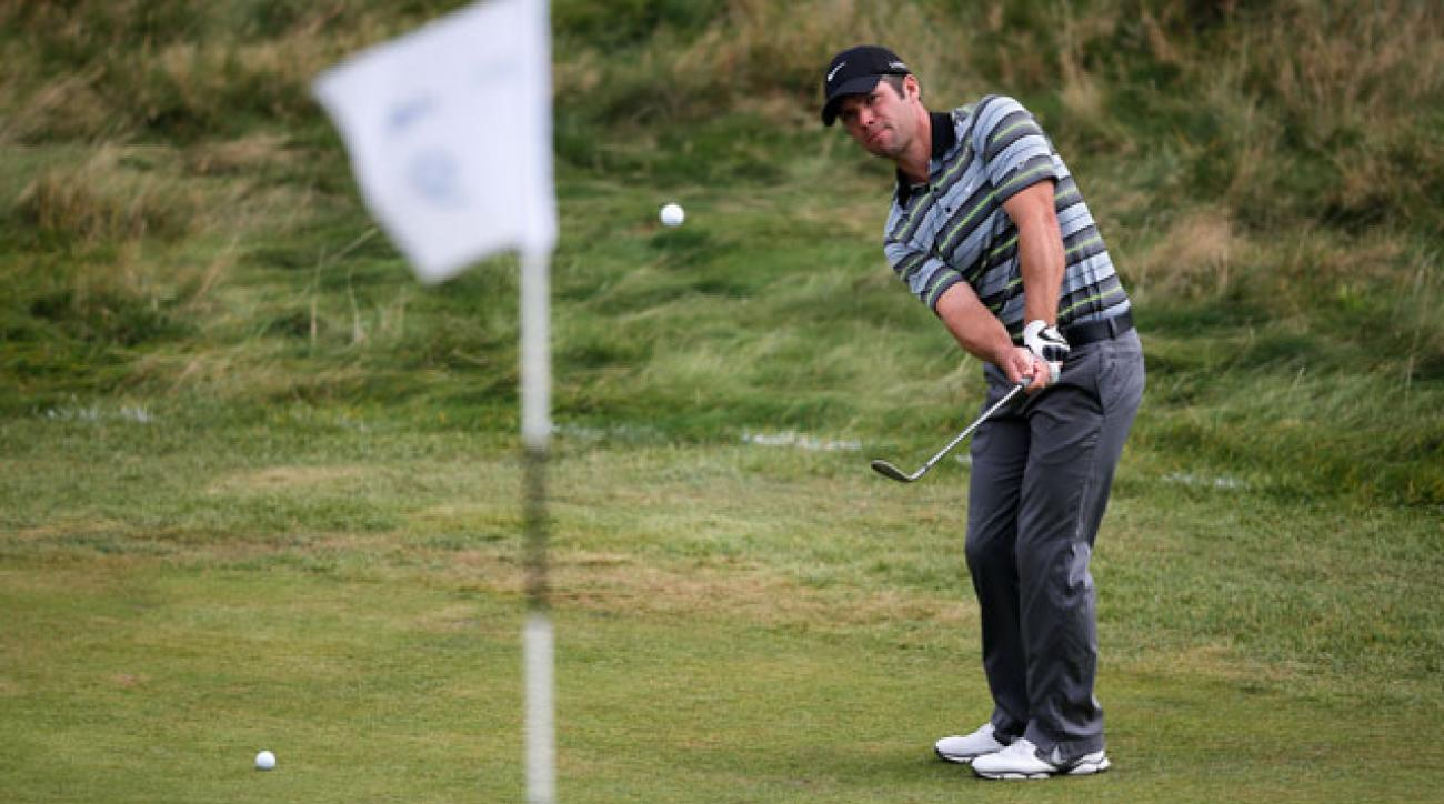 Paul Casey chips on the 9th hole during the third round of the KLM Open.
