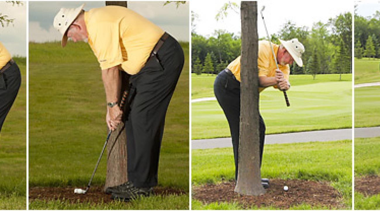 Your regular address position won't work in this situation, but by bending over more at setup while choking down, you can create a vertical swing that misses the tree going back. Another great escape!