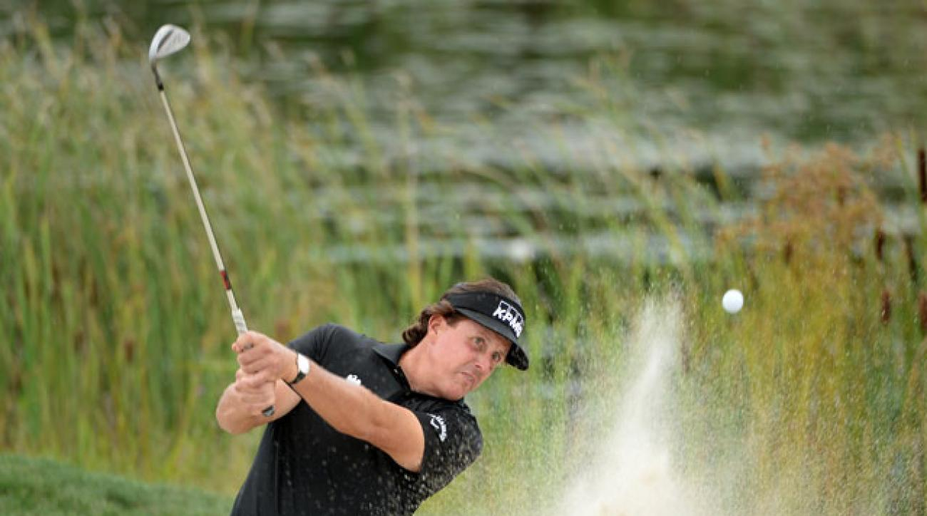Phil Mickelson plays the pro-am Wednesday at the Deutsche Bank Championship.