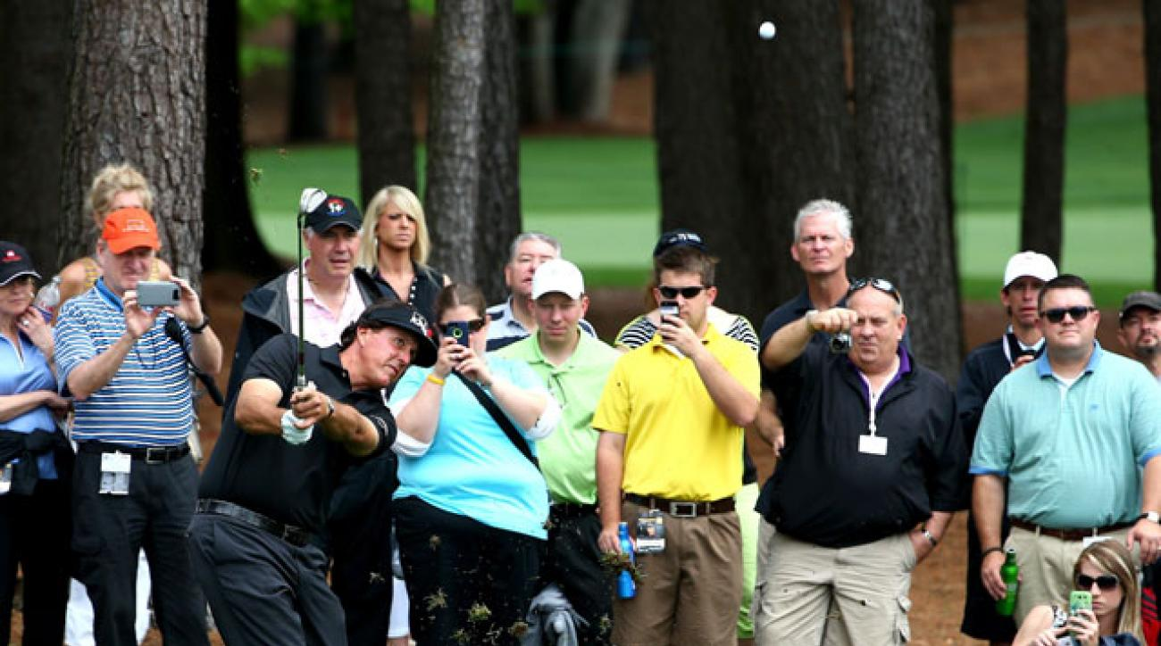 Phil Mickelson hits a shot during the pro-am at Quail Hollow Club on Wednesday.