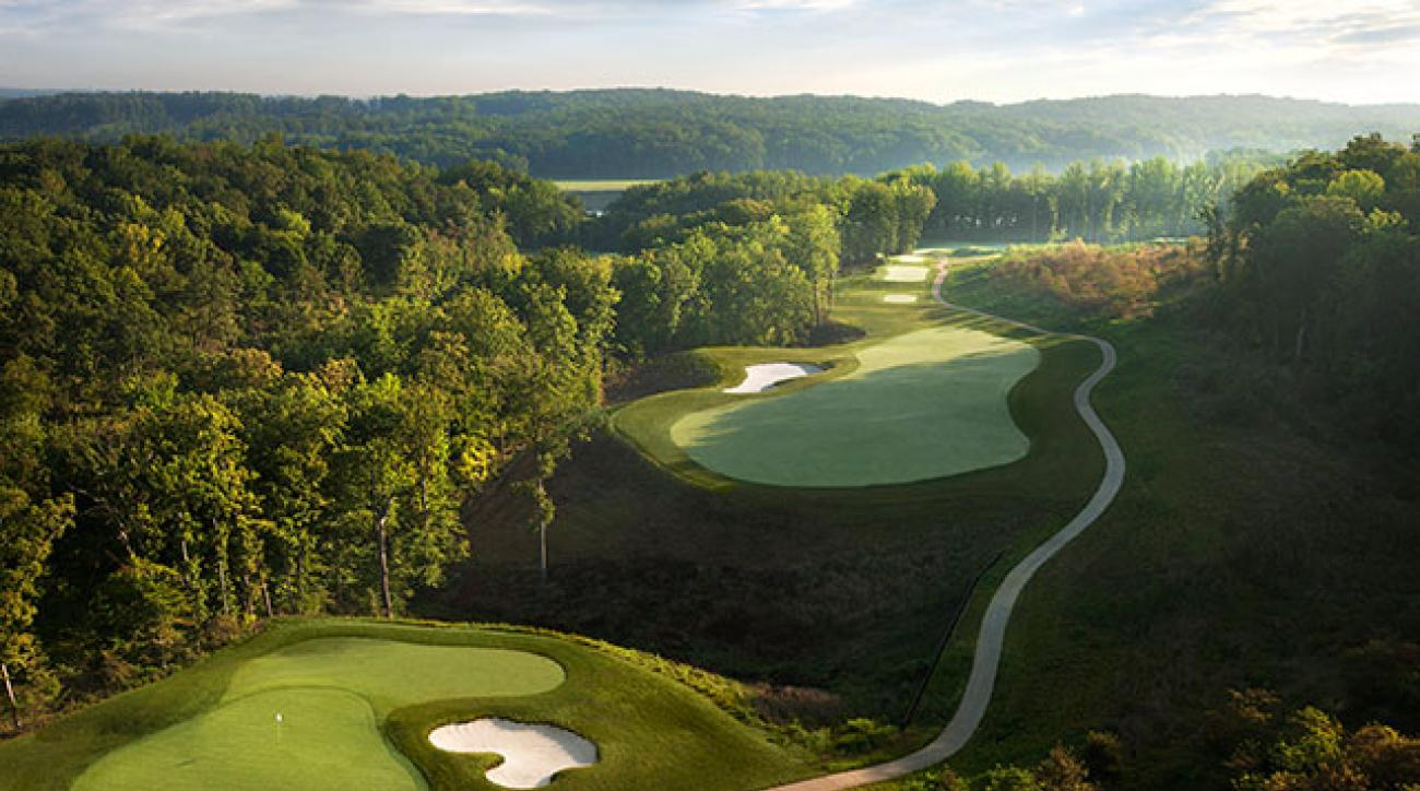 The forced carry on the par-4 second at Potomac Shores is an early indicator of the challenges yet to come.