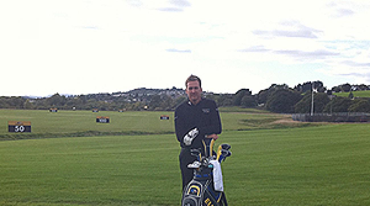 Ian Poulter Tweeted this photo of himself of  the range at Celtic Manor on Sunday.