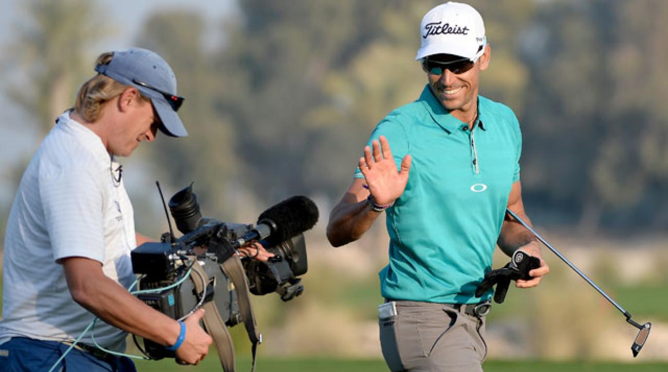 Rafa Cabrera-Bello has reason to smile on the 18th hole during second-round play at the Qatar Masters in Doha, Qatar.