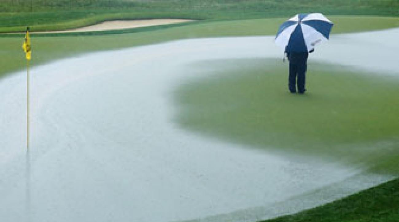 Heavy rains drenched Valhalla Golf Club on Sunday.