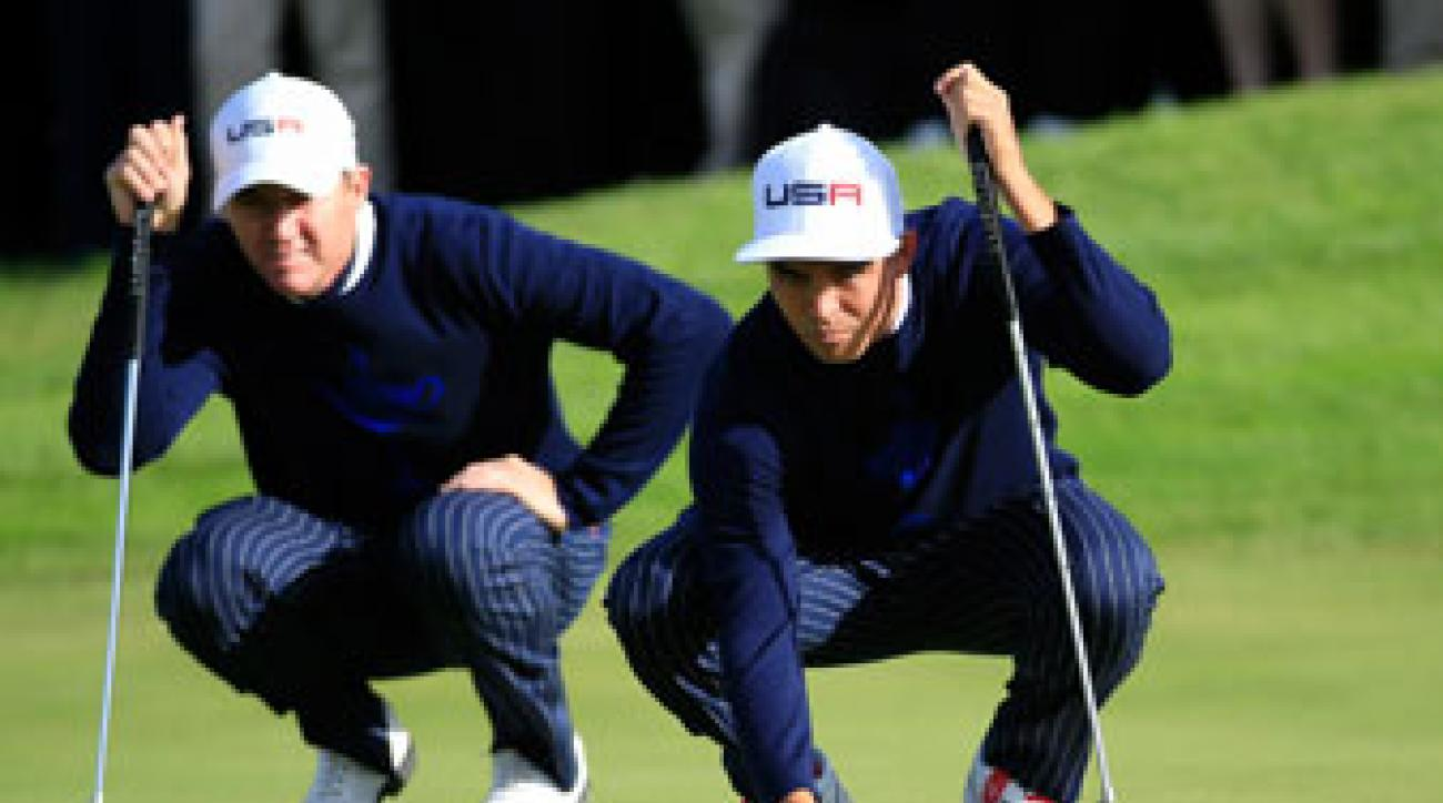 Jimmy Walker and Rickie Fowler halved their Friday morning match with Martin Kaymer and Thomas Bjorn.