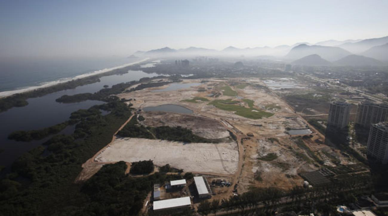 An aerial photo taken in August of the golf course under construction for the 2016 Olympics in Rio de Janeiro, Brazil.
