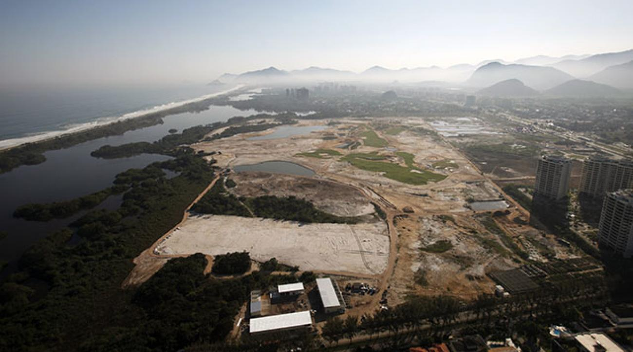An aerial view of the Olympic Golf Course under construction in Rio de Janeiro taken on Aug. 22.