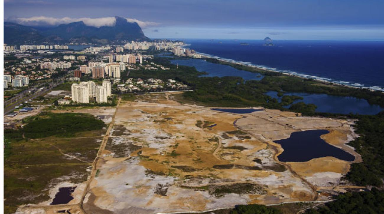 An aerial view of the Olympic golf course currently under construction in Rio de Janeiro.