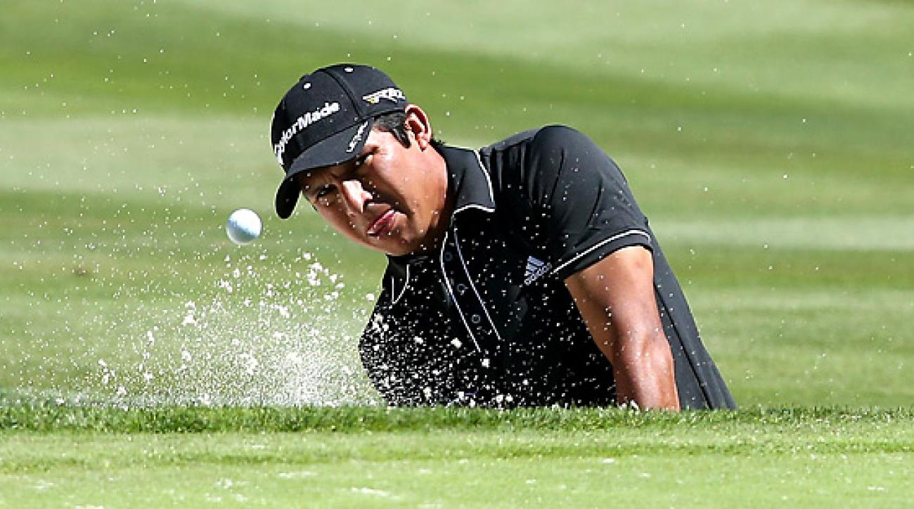 Andres Romero finished his second round with four straight birdies to grab the lead at the Reno-Tahoe Open.