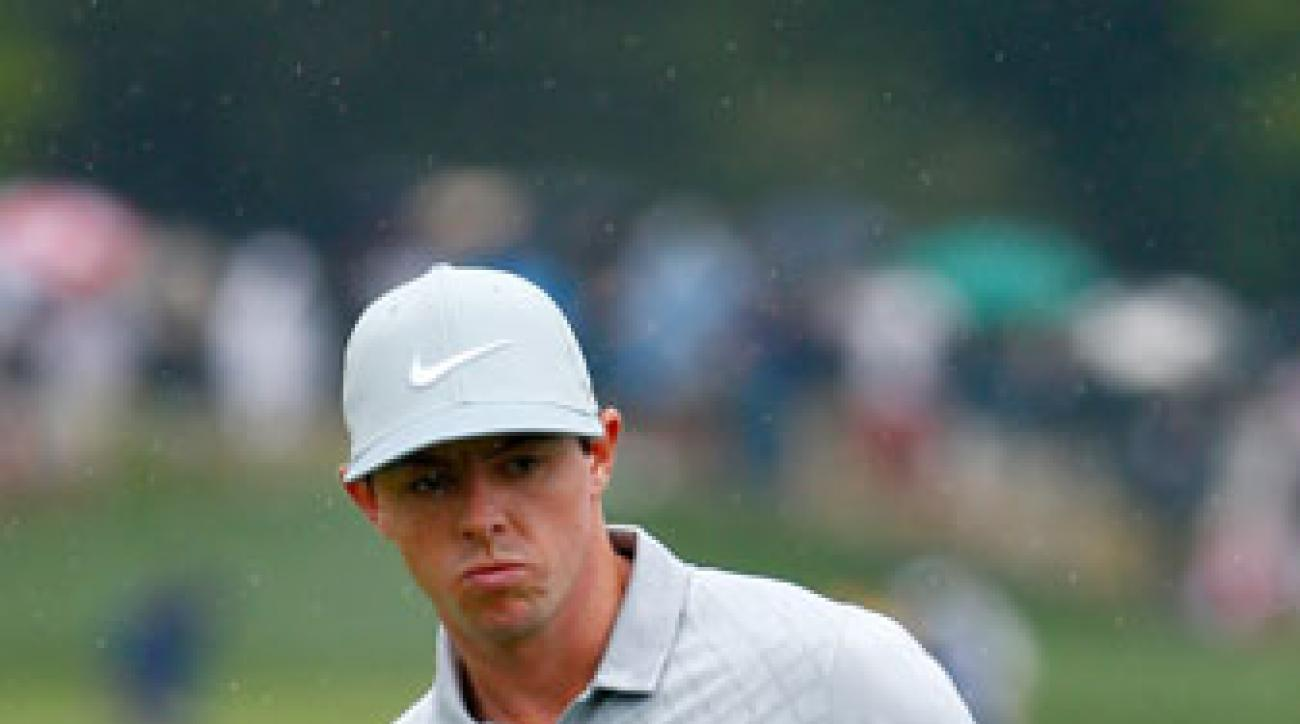 Rory McIlroy reacts to his eagle putt on the 18th green during the second round of the PGA Championship.