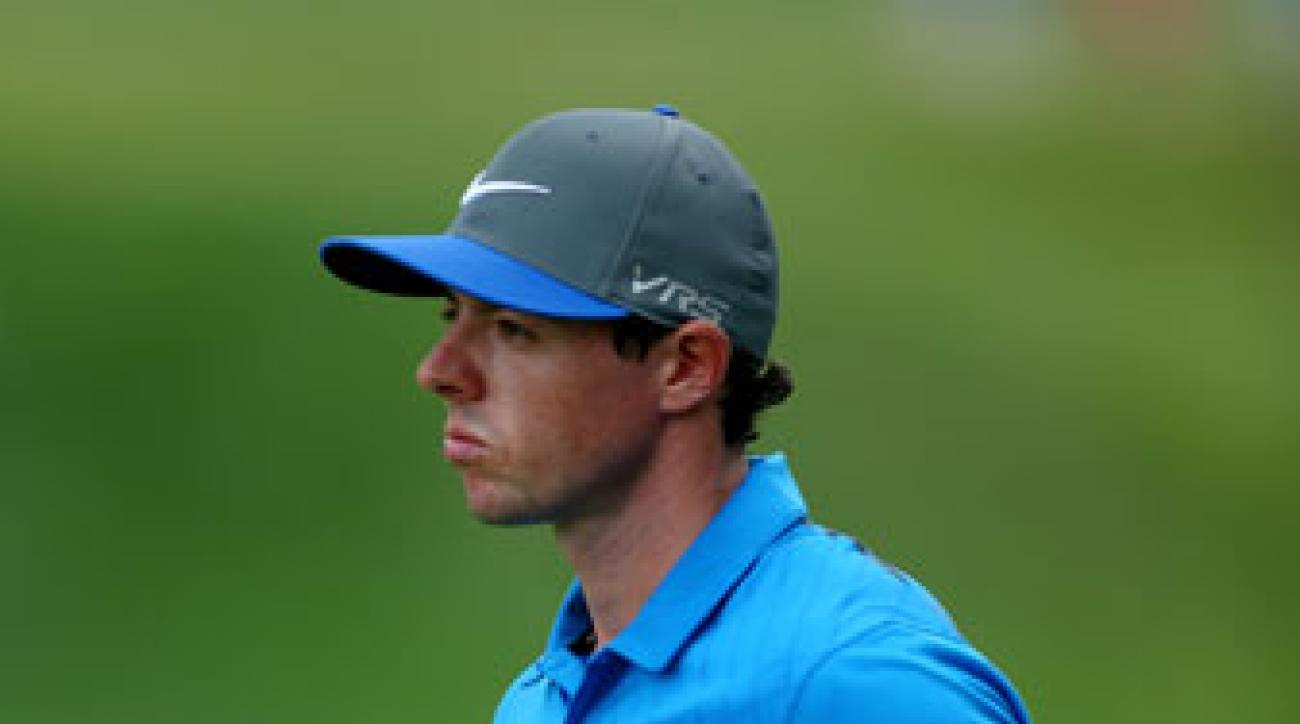 Rory McIlroy reacts to his par putt on the fourth green during the third round of the PGA Championship.