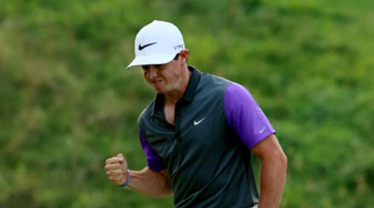 Rory McIlroy reacts to his birdie putt on the 13th hole during the final round of the PGA Championship.