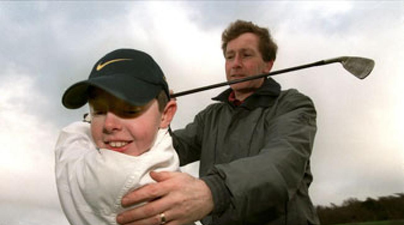 Bannon, with 10-year old Rory at Holywood Golf Club outside Belfast.