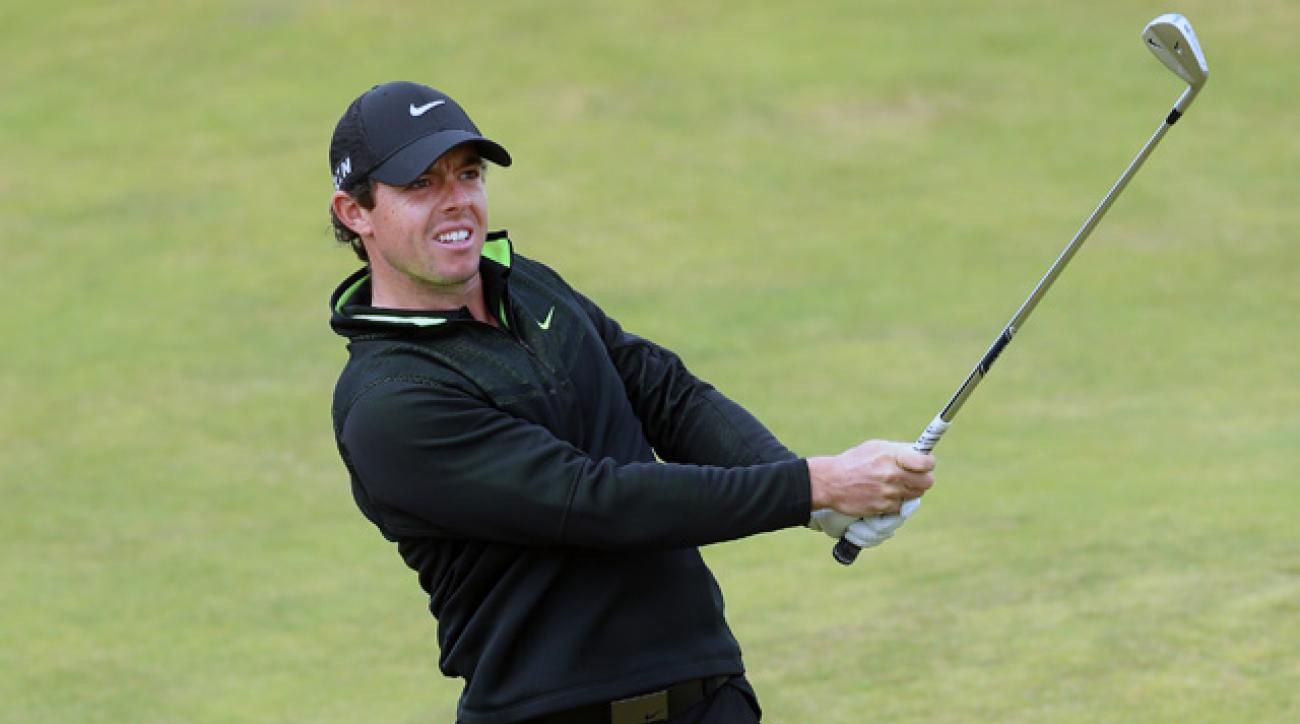 Rory McIlroy plays his second shot on the fifth hole at Royal Aberdeen.