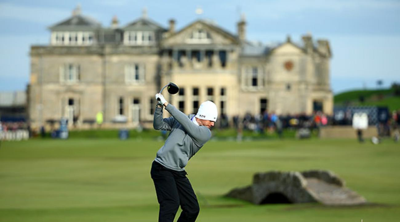 Rory McIlroy tees off on the 18th hole at the Old Course at St. Andrews during the Alfred Dunhill Links Championship.