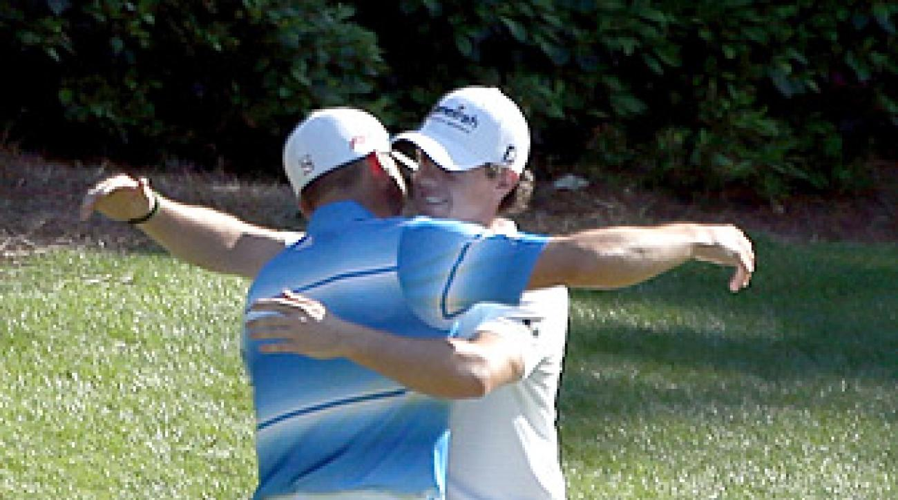 Rory McIlroy and Sergio Garcia shared a hug after each made a birdie on the 12th hole.