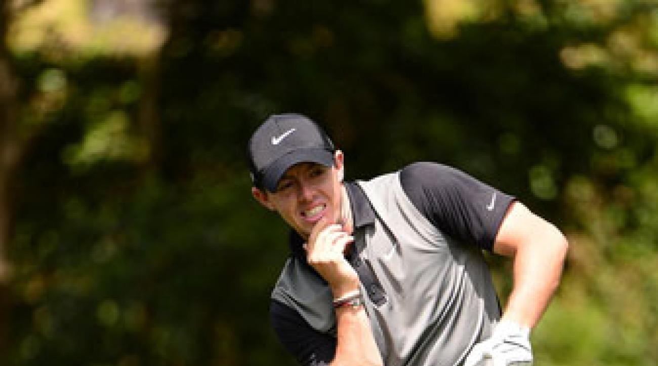 Rory McIlroy ponders a drive during the second round of the Masters.