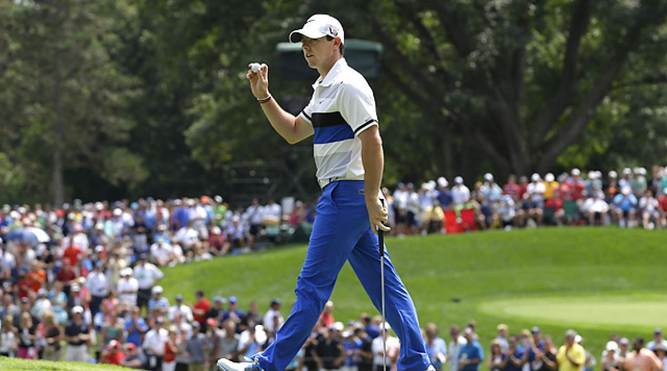 Rory McIlroy made five birdies and four bogeys in his opening round at Oak Hill.
