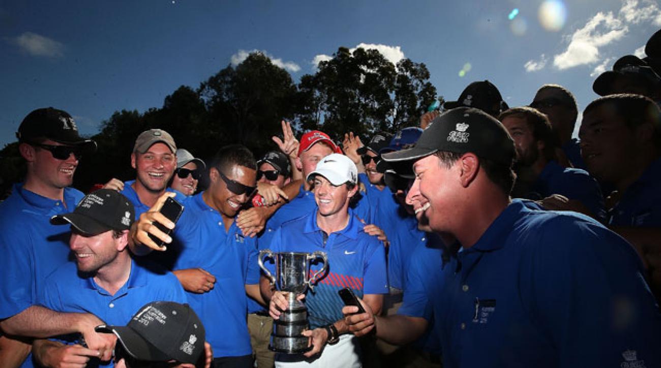Rory McIlroy celebrates with the Australian Open trophy last December in Sydney, Australia.