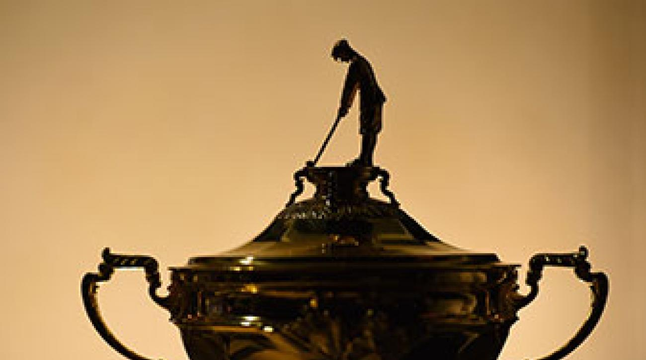 The Ryder Cup trophy seen at the start of the pro-am prior to the Portugal Masters in October.