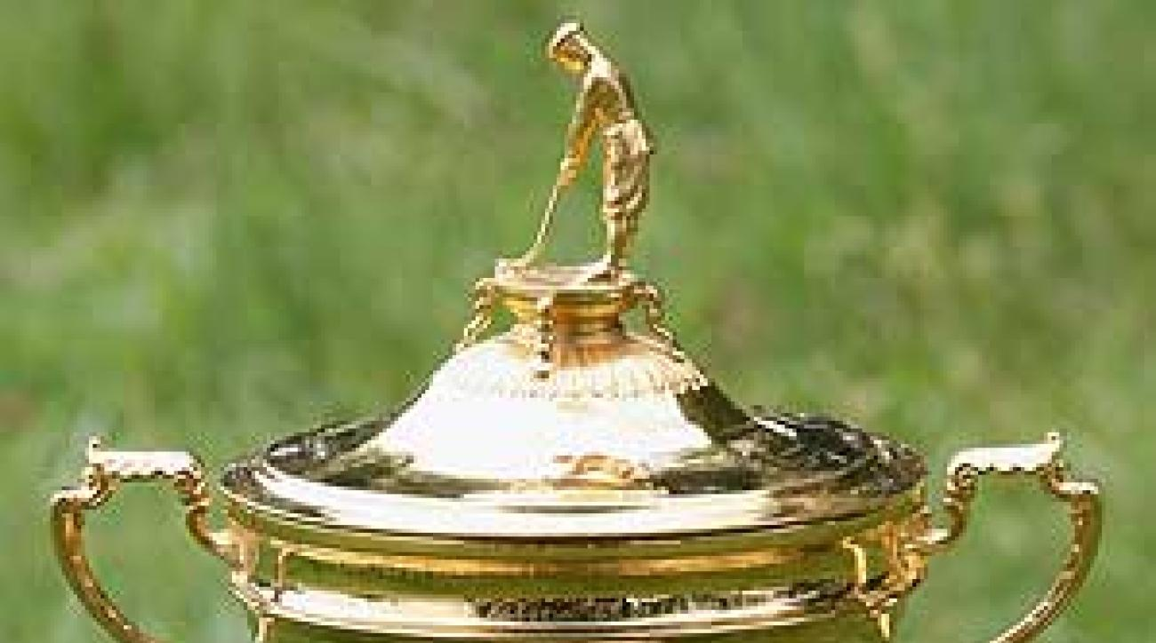 On top of the Ryder Cup stands a tiny likeness of Abe Mitchell, one of the top British professionals of the day and the personal swing guru to Samuel Ryder.