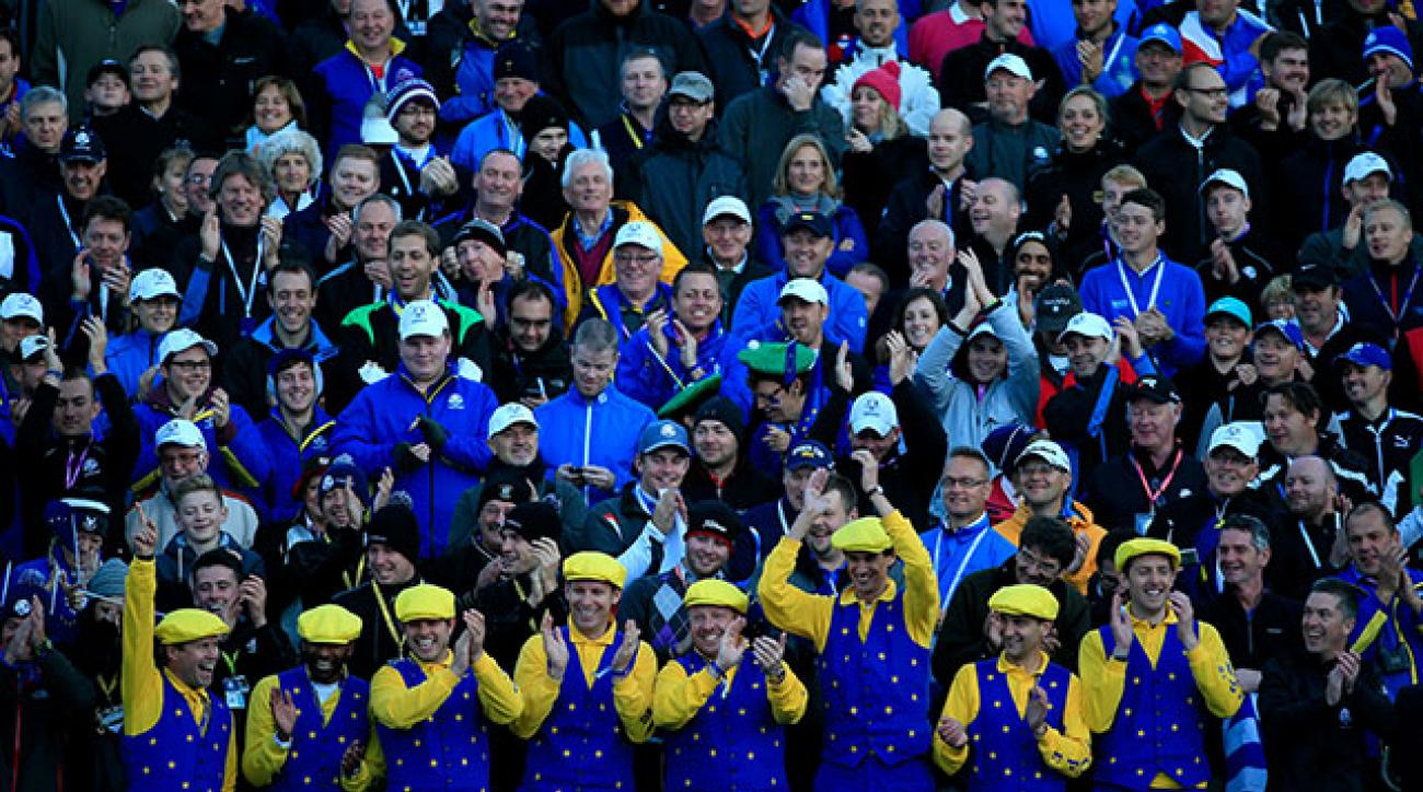 The ringleaders of the songs and chants at the first tee of the 2014 Ryder Cup.