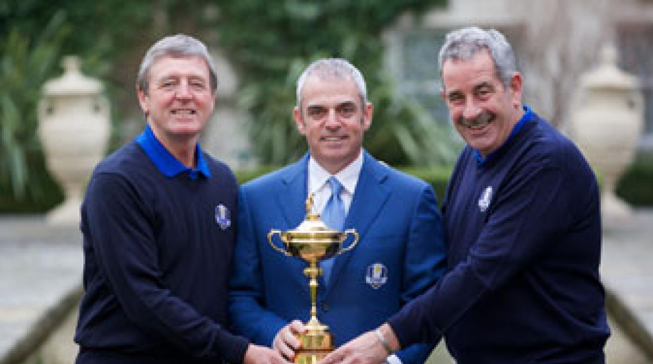 European Ryder Cup Captain Paul McGinley (center) is joined by vice-captains Des Smyth (left) and Sam Torrance during a Ryder Cup press conference on Thursday.