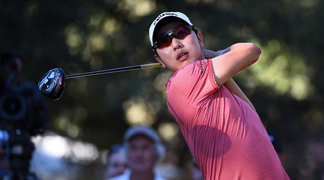 Sang-moon Bae tees off on the eighth hole during the third round of the Frys.com Open.