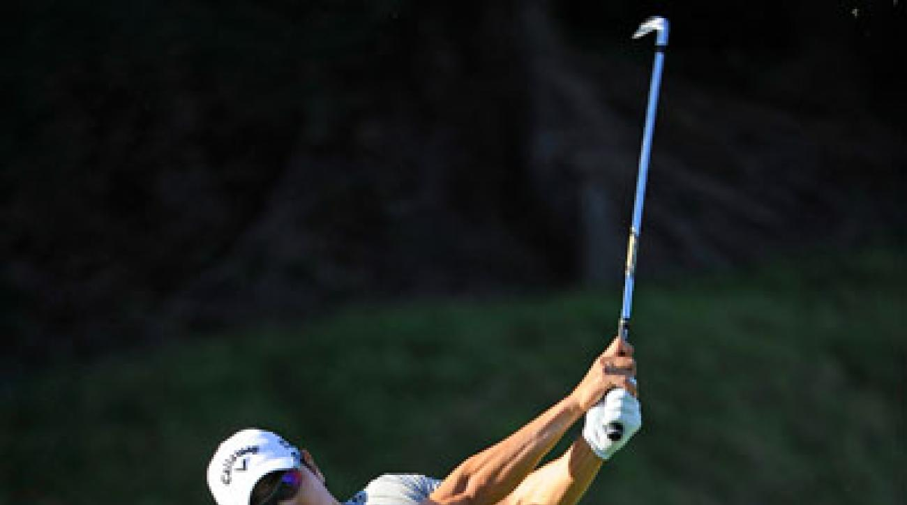Bae Sang-moon plays from the sixth tee at the Northern Trust Open.