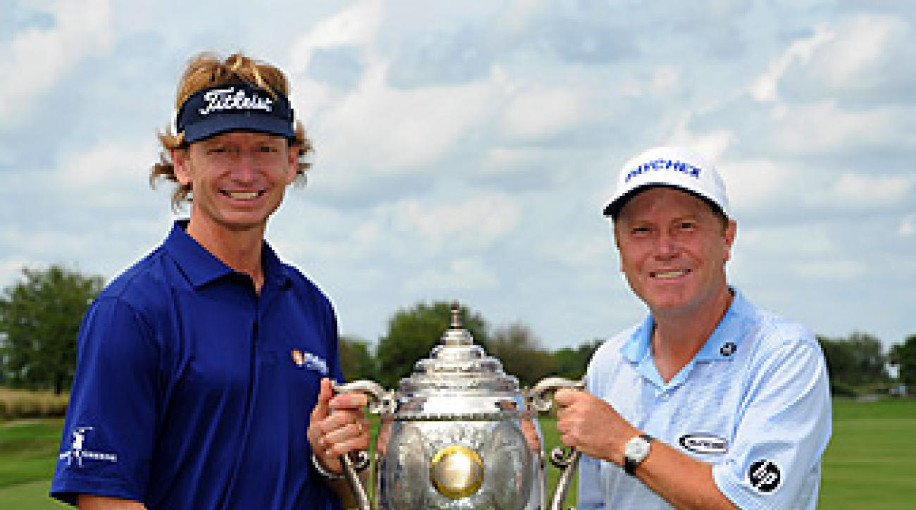 Brad Faxon and Jeff Sluman earned a one-stroke victory at the Club at Savannah Harbor.