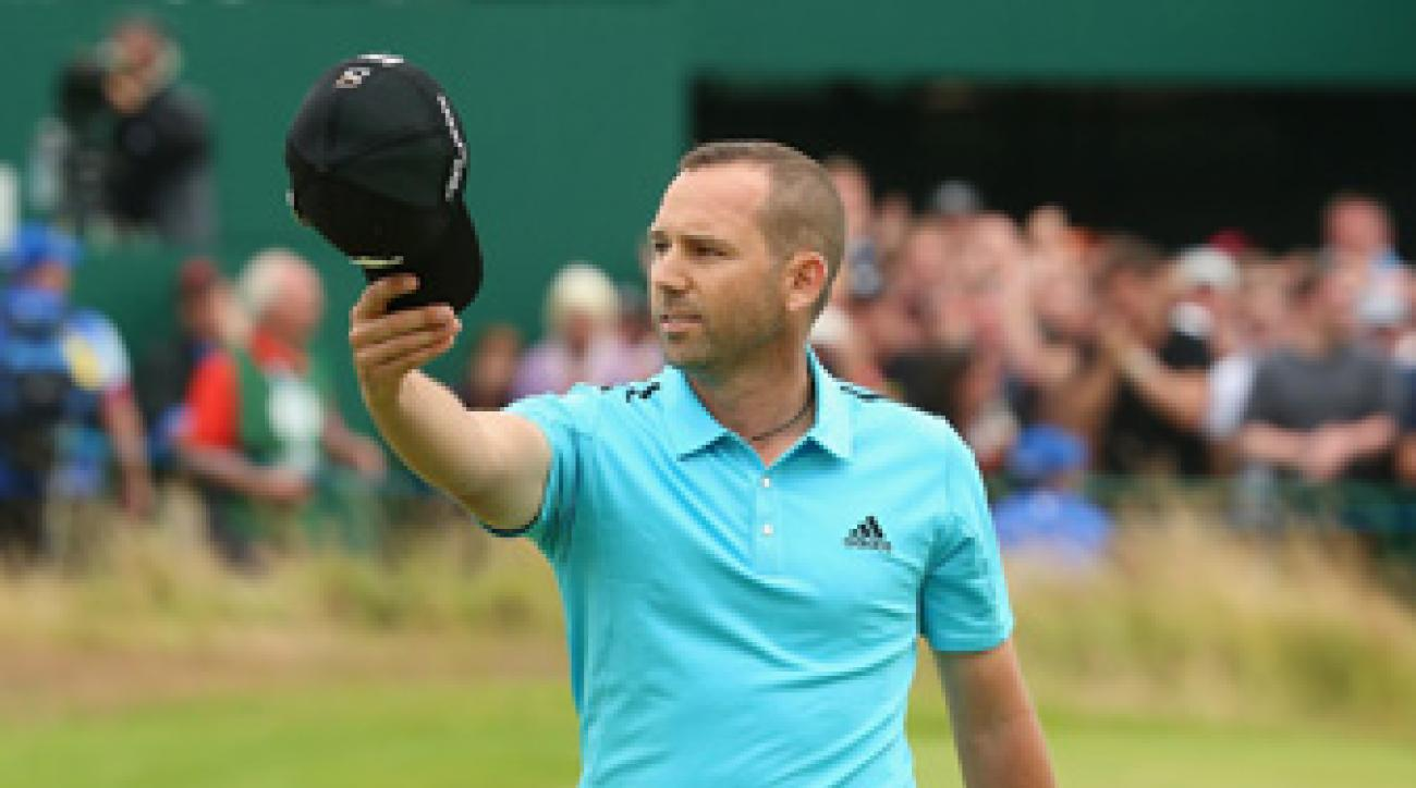 Sergio Garcia salutes the crowd on the 18th green at Royal Liverpool.