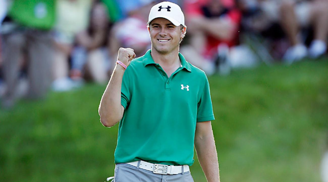 Jordan Spieth celebrates after winning the John Deere Classic earlier this year.